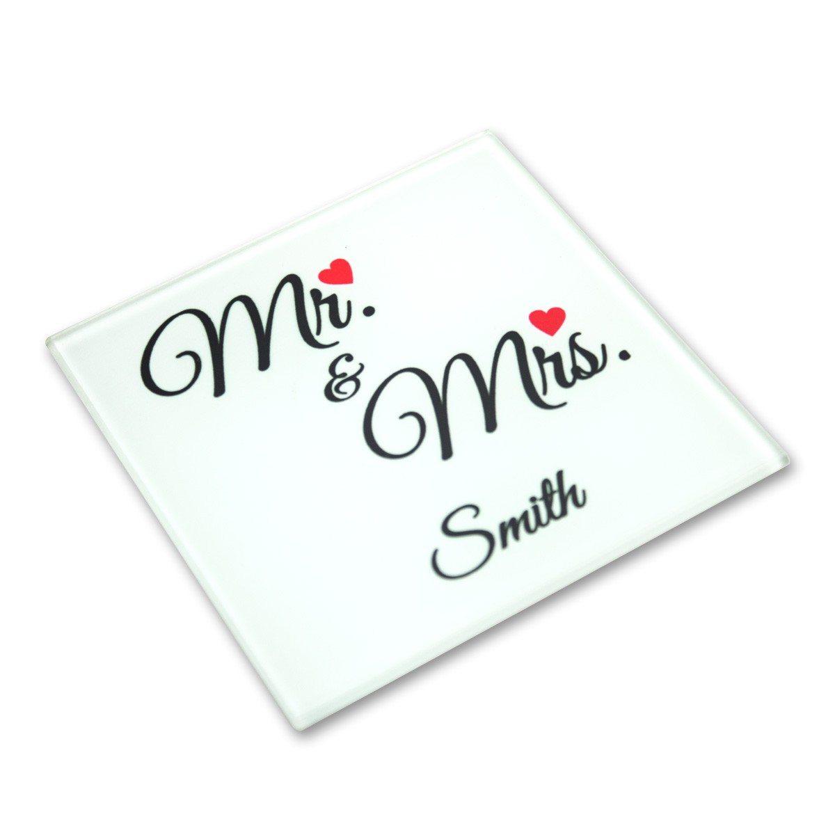 """Glas-Untersetzer """"Mr. & Mrs."""""""
