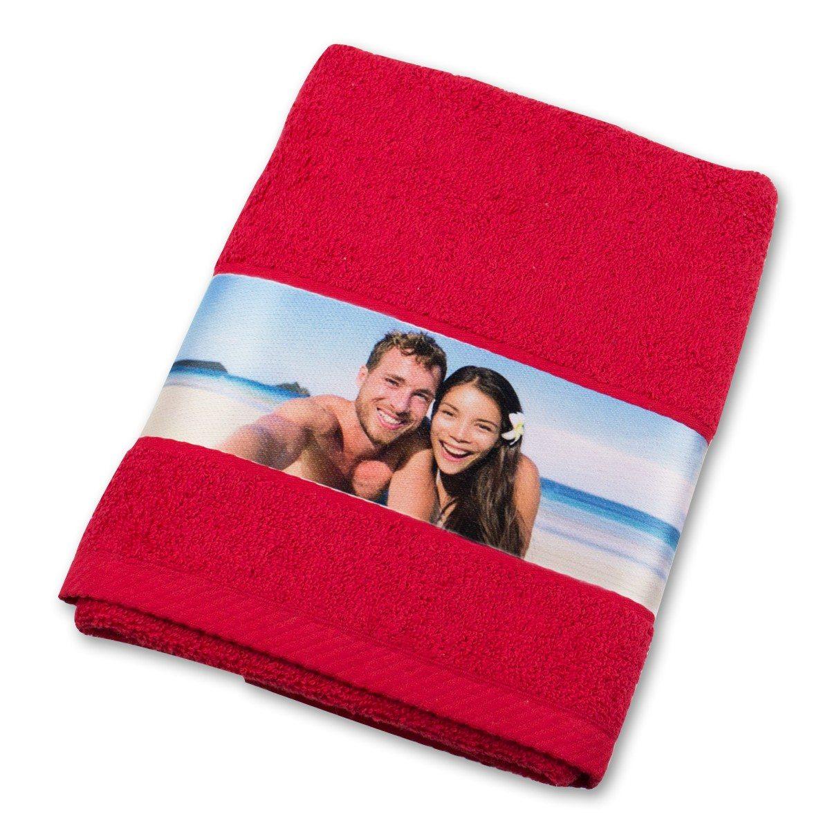 Handtuch mit Fotobordüre - rot