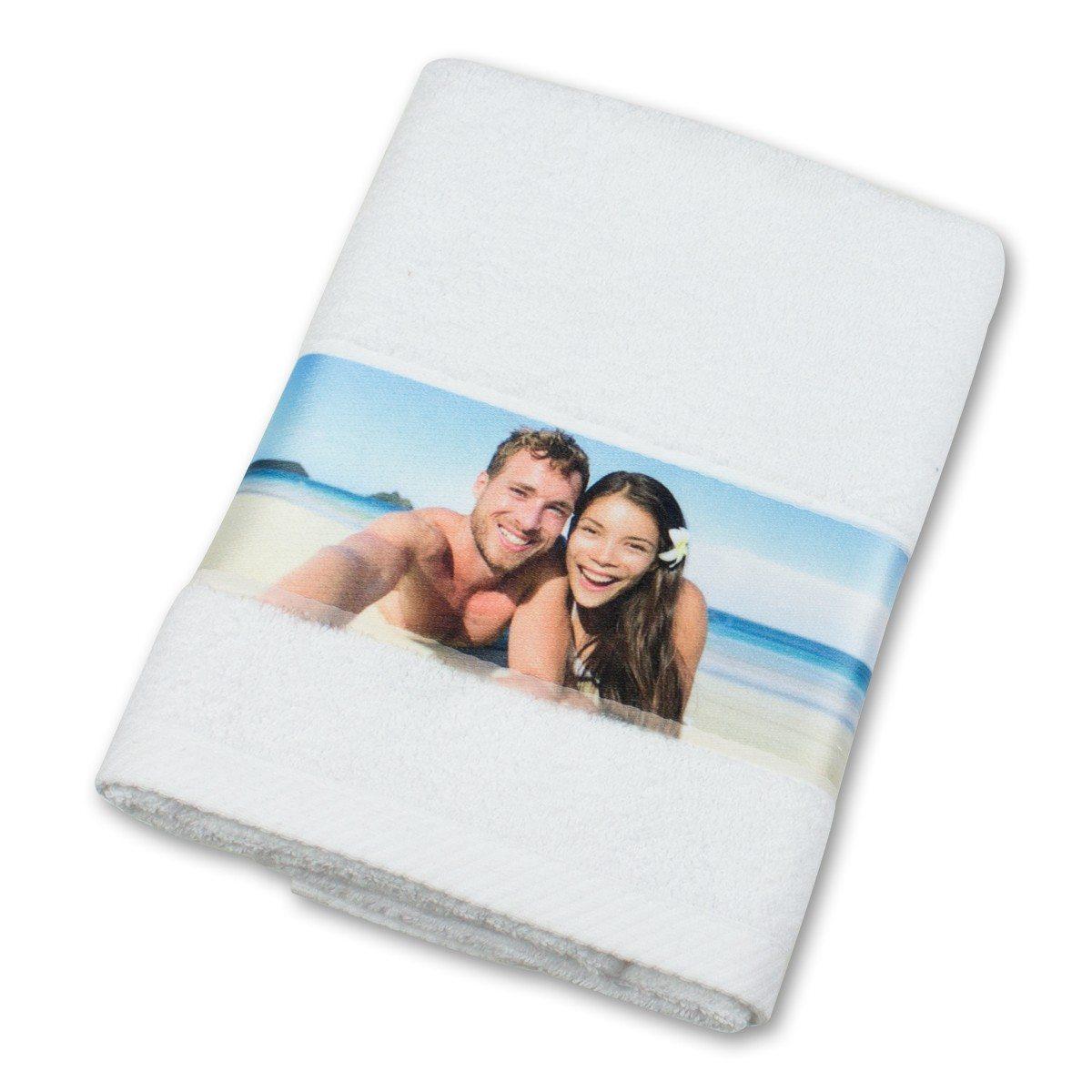 Handtuch mit Fotobordüre - weiß
