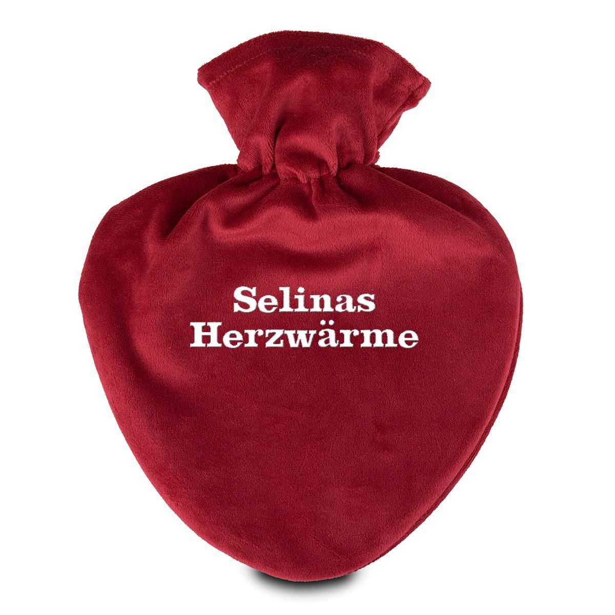 Herzwärmflasche mit Velourbezug und Namen