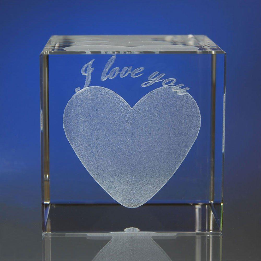 I love you im Glasblock mit individualisierbarem Textfeld