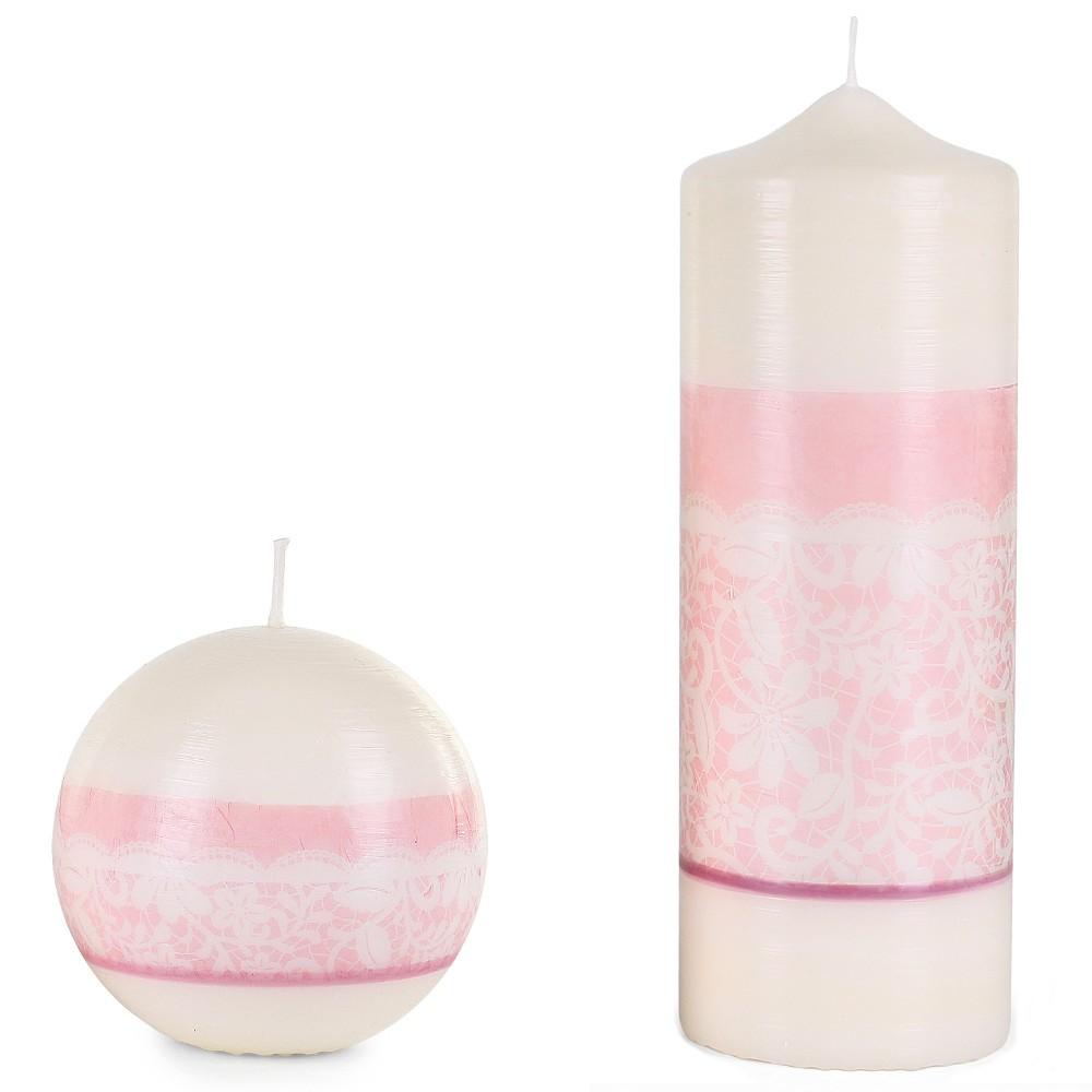 Kerze mit rosa Blumenmuster