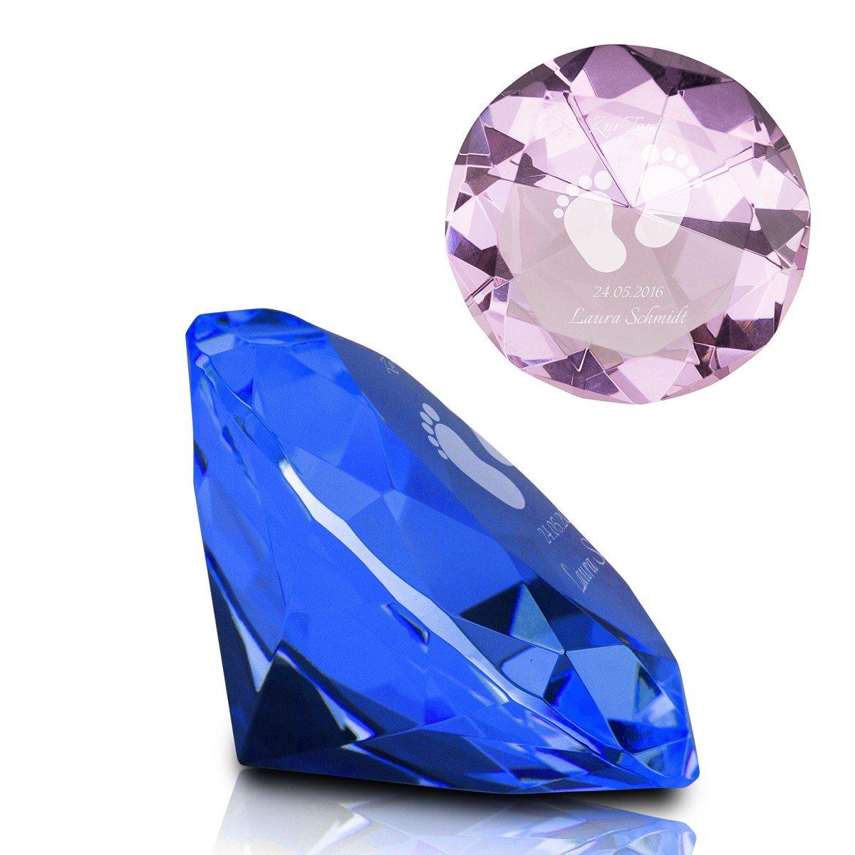 Kristall-Diamant mit Gravur zur Geburt