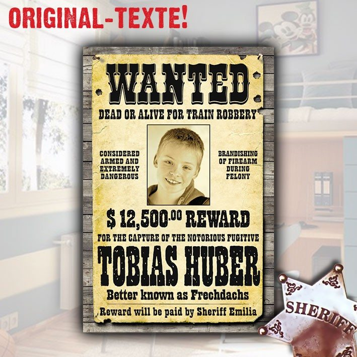 """PERSONALIZED WILD WEST """"WANTED"""" POSTER"""