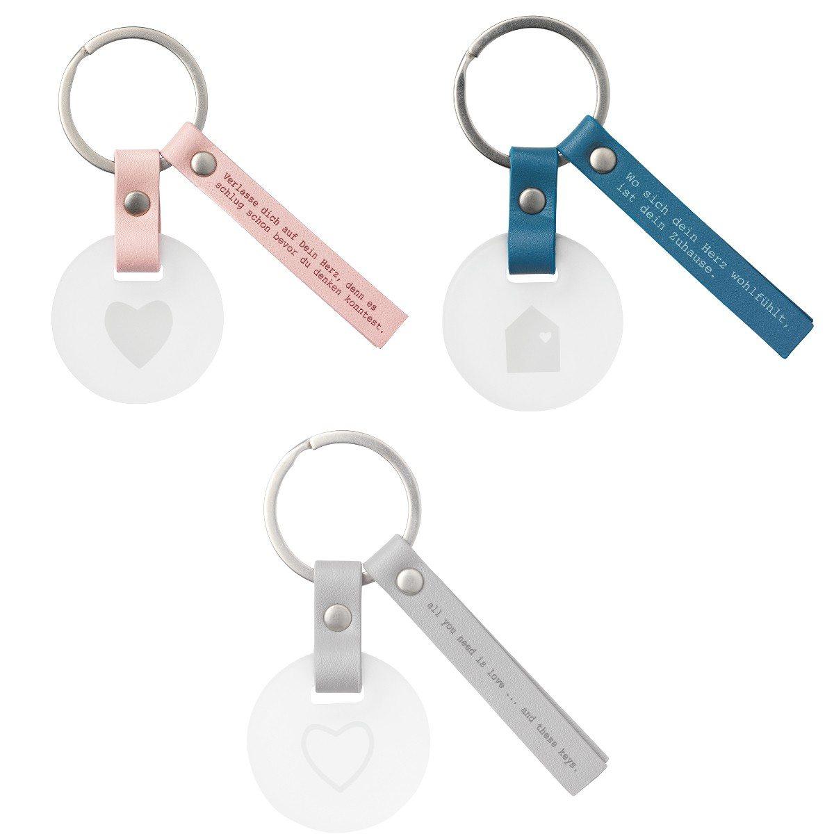 Schlüsselring mit Glasanhänger