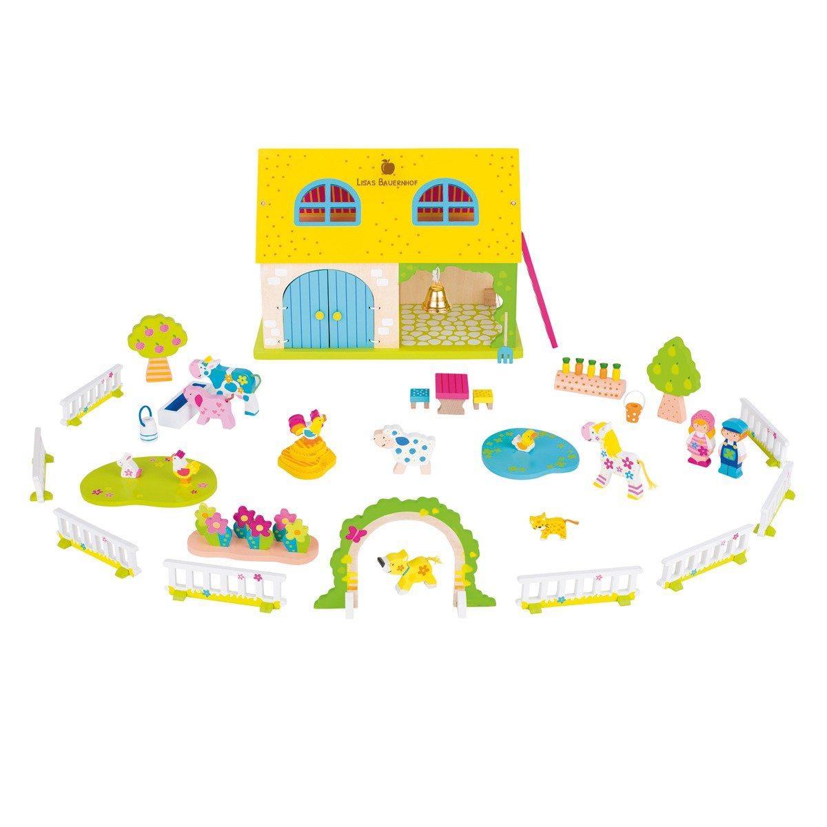 Spielzeug-Bauernhof mit Gravur 53-teilig