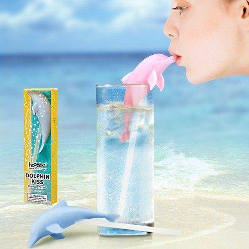 """Strohhalm """"Delfin-Kuss"""" - blau"""