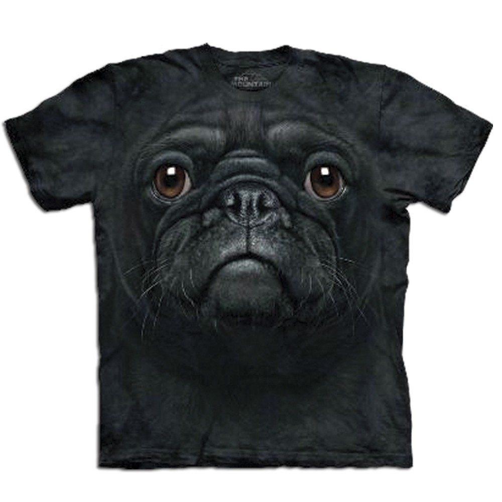 T-Shirt Big Face Schwarzer Mops