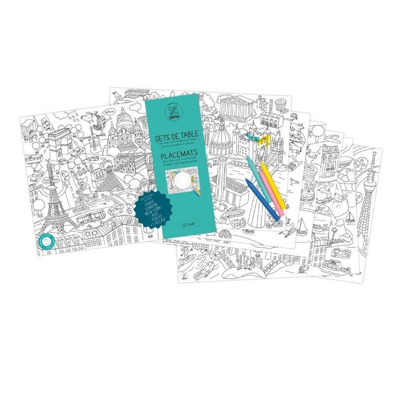 """Tischset """"City Map"""" zum Ausmalen"""